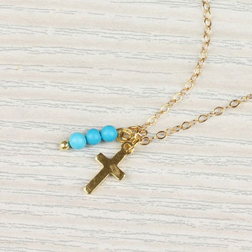 "Tiny cross necklace, turquoise necklace, gold cross, mother gift, 14k gold filled, protection necklace, ""Tiny Cross"" Necklace"