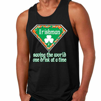 Irishman saving the world st patricks Men jersey tank