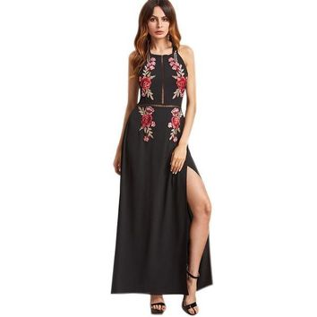 Black Sexy Backless Dress Rose Embroidered