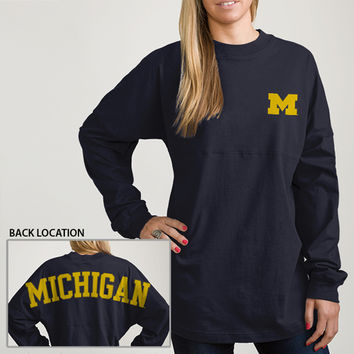Ladies T-Shirts League Outfitters University of Michigan Ladies LS Oversized Rah Rah Tee