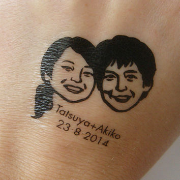 Custom couple portrait / temporary tattoos / for bride and groom weddings tattoo favor invitations save the date couples him her favors etc