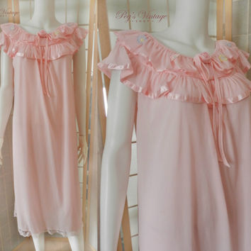 Vintage Pink Satin Chiffon Nightgown, Pink Long Nightgown, New Old Stock 60's Peignoir Sleepwear Size Small