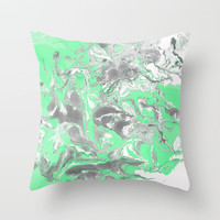 Light green and gray Marble texture acrylic paint art Throw Pillow by maria_so