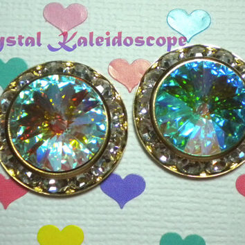 BIG Aurora Borealis ShowStoppers - Iridescent Crystal AB Rivoli Stud Post Earrings handmade with Swarovski Elements, 20mm Gold Rondelle