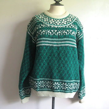 Vintage 1970s Mens Sweater United Colors of Benetton Green Nordic Wool Knit Jumper XL