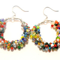 Colorful Wire Wrapped Earrings , Beaded Hoop Earrings , Seed Bead Earrings , Fashion Jewelry , Gifts for Teenager , Womens Jewelry