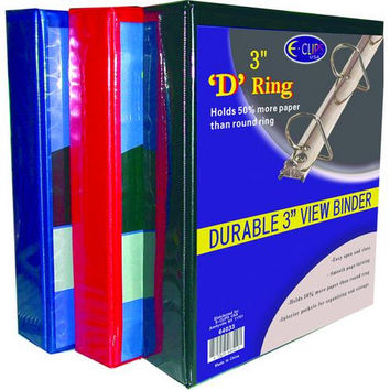 "Binder - D Ring - 3"" - Assorted Colors"