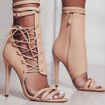Boussac Sexy Gladiator Women Pumps High Heels Peep Toe Lace up Cross-tie High Heels Women 12cm Thin Heel Party Shoes SWC0013