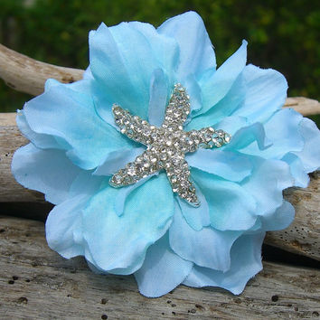 Starfish Floral Hair Clip-TIFFANY AQUA-Beach Weddings, Starfish Weddings, Starfish Hair, Mermaid Hair Clip, Bridesmaid Hair, Starfish, Ocean