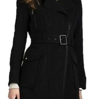 Andrew Marc New York Caliber Black Belted Wool Coat Jacket Style - MW1AW995