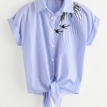 Swallows Embroidered Striped Knot Front Cuffed Shirt