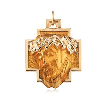 14k Yellow Gold Face of Jesus On The Cross Pendant
