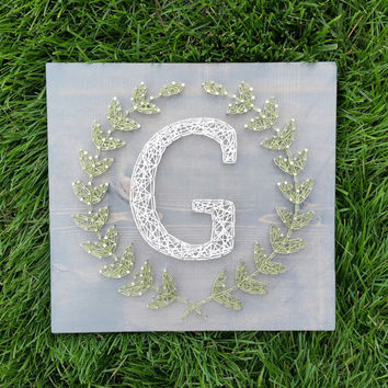 Made to Order String Art Laurel Leaf Monogram Sign