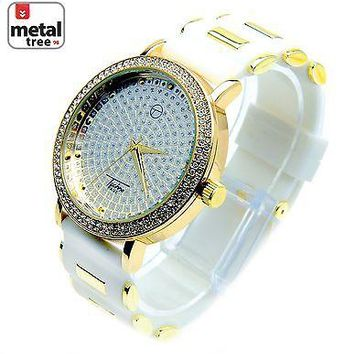 Jewelry Kay style Men's Hip Hop Fashion 14K Gold Plated Silicone Band Techno Pave Watch 8086GDWH