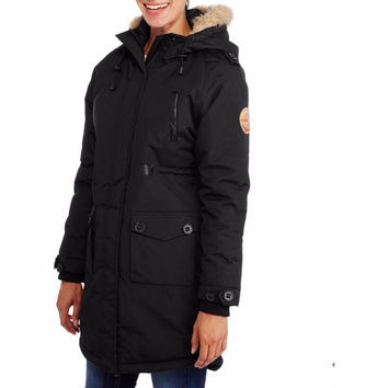 Fahrenheit Women's Long Puffer Coat With Fur-Trim Hood, 2XL, Black