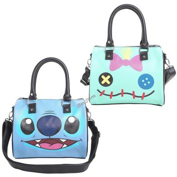 "Licensed cool Disney Lilo & Stitch Scrump Doll & Stitch Face Barrel Bag Purse 10""x8""x6"" NEW"