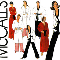 Unisex Robe Pattern Uncut McCalls 7729 Men and Womens His and Hers Karate Pants and Tops Bathrobes Pajamas Bottoms Vintage Sewing Patterns