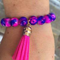 Blue & pink beaded tassel bracelet