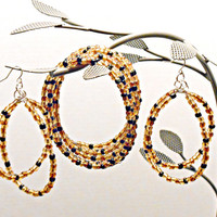 Earrings with matching Bracelet Memory wire Earrings have a Center Swing Gold Glass Czech Seed Beeds