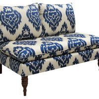 Bacall Armless Settee, Navy Damask, Settees