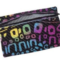 Quilted Jewelry Pouch for Travel Zippered with Abstract Design 6x9 In.