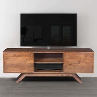 Mid Century Modern Acacia Wood Tv Unit With Wide Storage, Walnut Brown