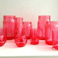 Set of 11 Stained / Dyed Jars - Bright Pink - Shabby Chic Decor - Instant Collection of Vases - Wedding Decor - Party Accessories