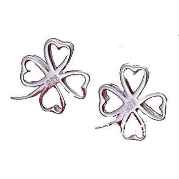 Basket Hill , 925 Silver Four Leaf Clover Post Earrings