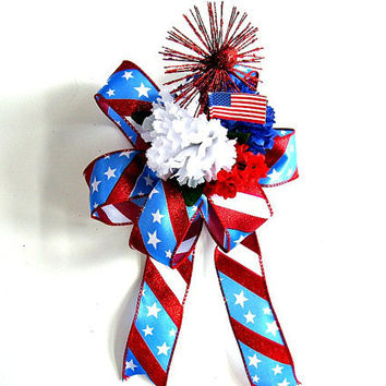 Patriotic Holiday bow, Memorial Day decoration, Flag Day celebration bow, Fourth of July decoration, Patriotic gift bow (J20)