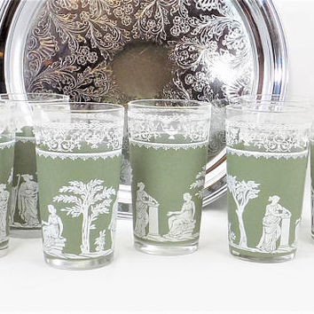 Jeanette Hellenic Green Tumblers, Green Band Decal, Grecian Style, Set of 7 Glass Tumblers, 8 Ounce Glasses