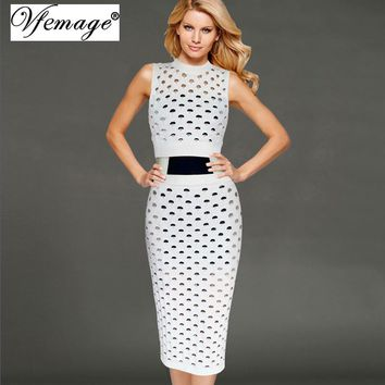 Vfemage Women Sexy Hollow out Knitted Tank Crop Top Bodycon Pencil Skirt Set Girl Ladies Spring Summer Casual Knitwear Suit 6363