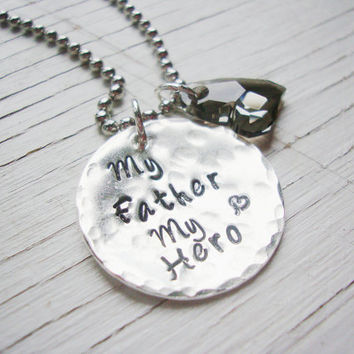 My father my hero silver hand stamped necklace with gray silver swarovski crystal heart
