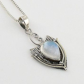 Moonstone Two Tone Sterling Silver Pendant