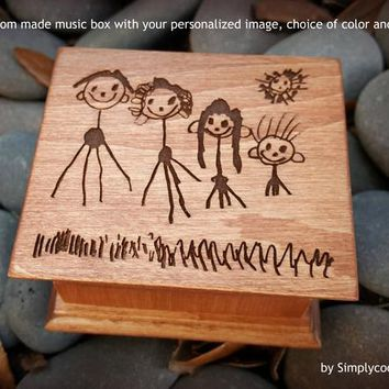 custom image music box, music box, wooden music box, custom made music box, personalized music box, gift for mom, Mommy, Simplycoolgifts
