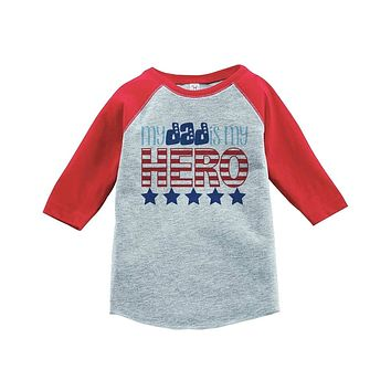 Custom Party Shop Daddy Is My Hero 4th of July Raglan Tee