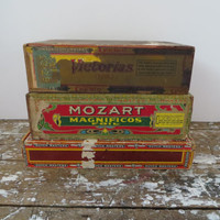 Vintage Cigar Boxes Mozart Cigars Cremo Box Dutch Masters Rustic Storage Box