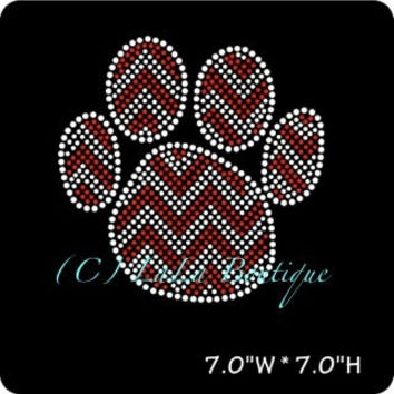 Red chevron paw print iron on hot fix rhinestone transfers - DIY chevron paw mascot school team logo -heat - bling
