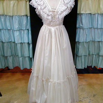 1970s Gunne Sax Princess Wedding Dress White and Cream Polka Dot with Sheer High Neck and Lace Bow S/M