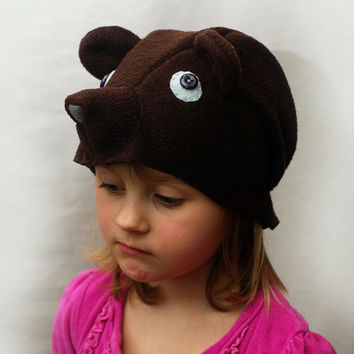 Bear costume hat, bear fleece hat, kids dress up hat, kids costume hat, Bear Ear Hat, animal costume, animal costume clothing
