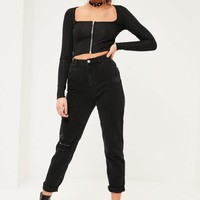 Missguided - Black Riot High Rise Rip Knee Mom Jeans