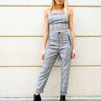 """""""Working Girl"""" Cropped Plaid Pants"""