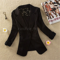 Women OL One Buttons long Sleeve Lace Suit Blazer Jacket Coat US S-3XL