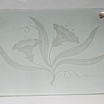 Vintage Etched Glass Dresser Tray