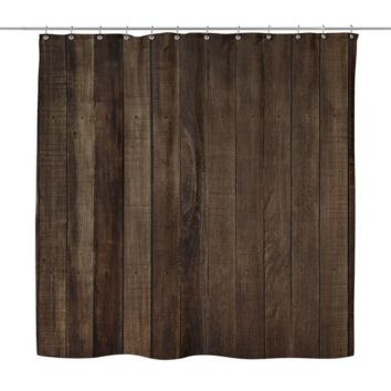 Brown Wood Look Shower Curtain