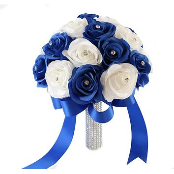 """10"""" Royal Blue and White Elegant Bridal Bouquet - Quality Silk Roses"""