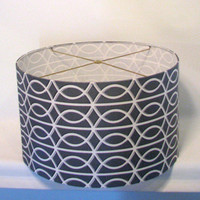"Drum Lamp Shade grey geometric 20""x10"" / silver white drum lampshade"