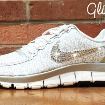 Bling Nike Free Run Bling 5.0 Glitter Kicks Shoes - Blinged Out /Customized  With Swaro