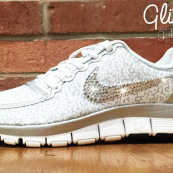 Bling Nike Free Run Bling 5.0 Glitter Kicks Shoes - Blinged Out /Customized With Swarovski Elements Crystal Rhinestones White Metallic