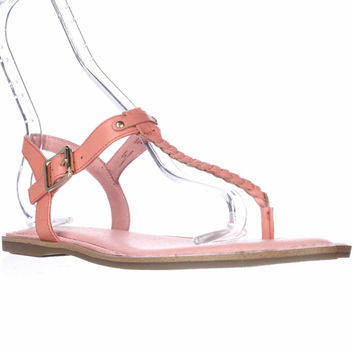 Sperry Top-Sider Virginia T-Strap Ankle Strap Sandals, Coral, 8 US / 39 EU