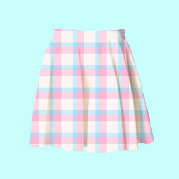 baby blue and pink plaid skater skirt | 2XL 3XL kawaii pastel spring summer fatshion plus size fairy kei aesthetic pale gingham harajuku